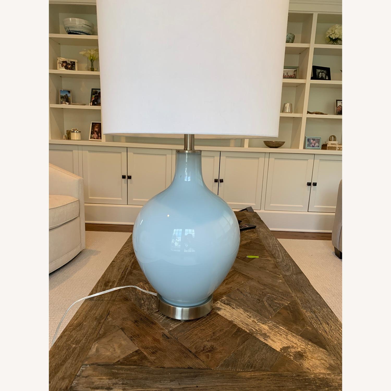 Light Blue Glass Jar Lamp