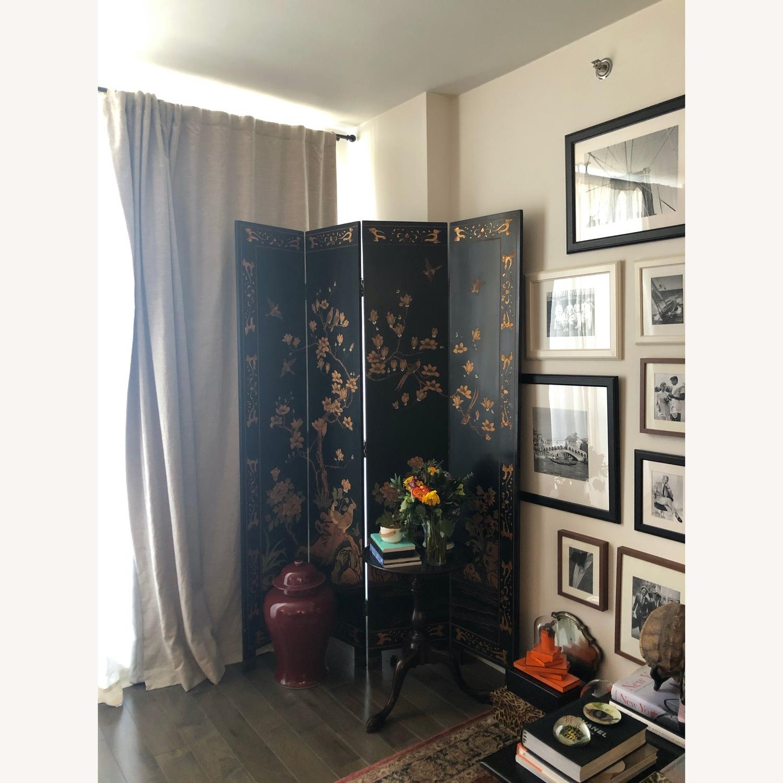 Antique Asian Room Divider - Black and Gold