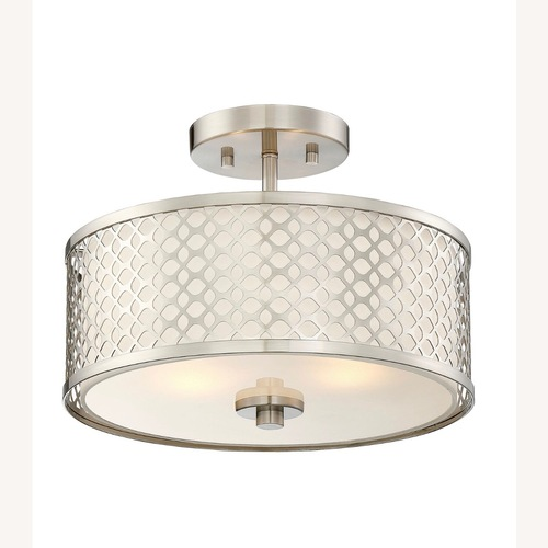 Used Brushed Nickel 2 Semi Flush Ceiling Light for sale on AptDeco
