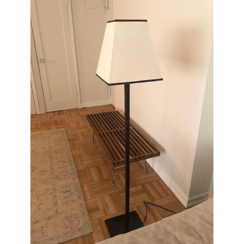 Andrew Martin Floor Lamps Walnut w/ Linen Shade