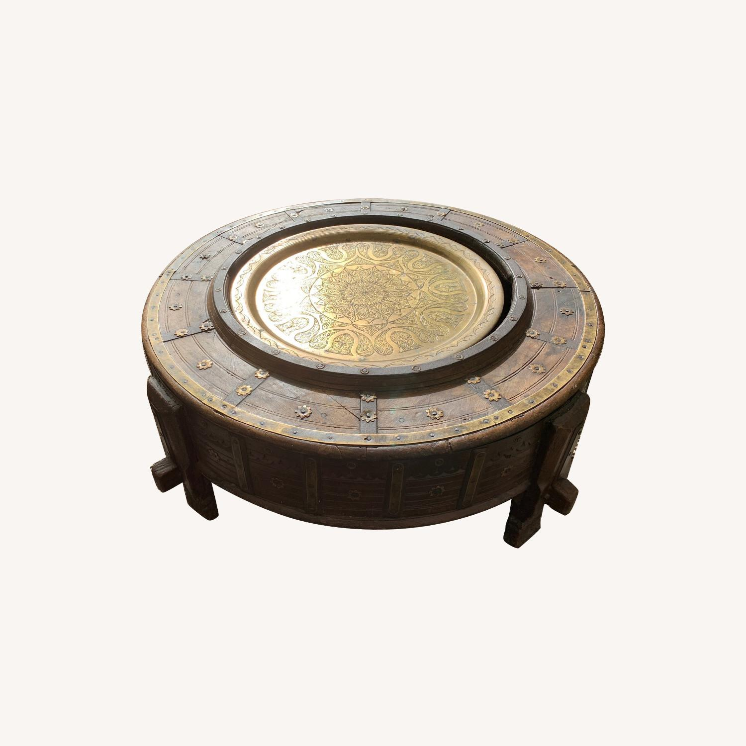 Antique African Granary Table in Wood and Brass
