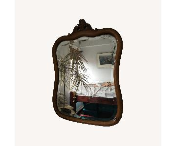 Vintage Wood Framed Wall Mirror