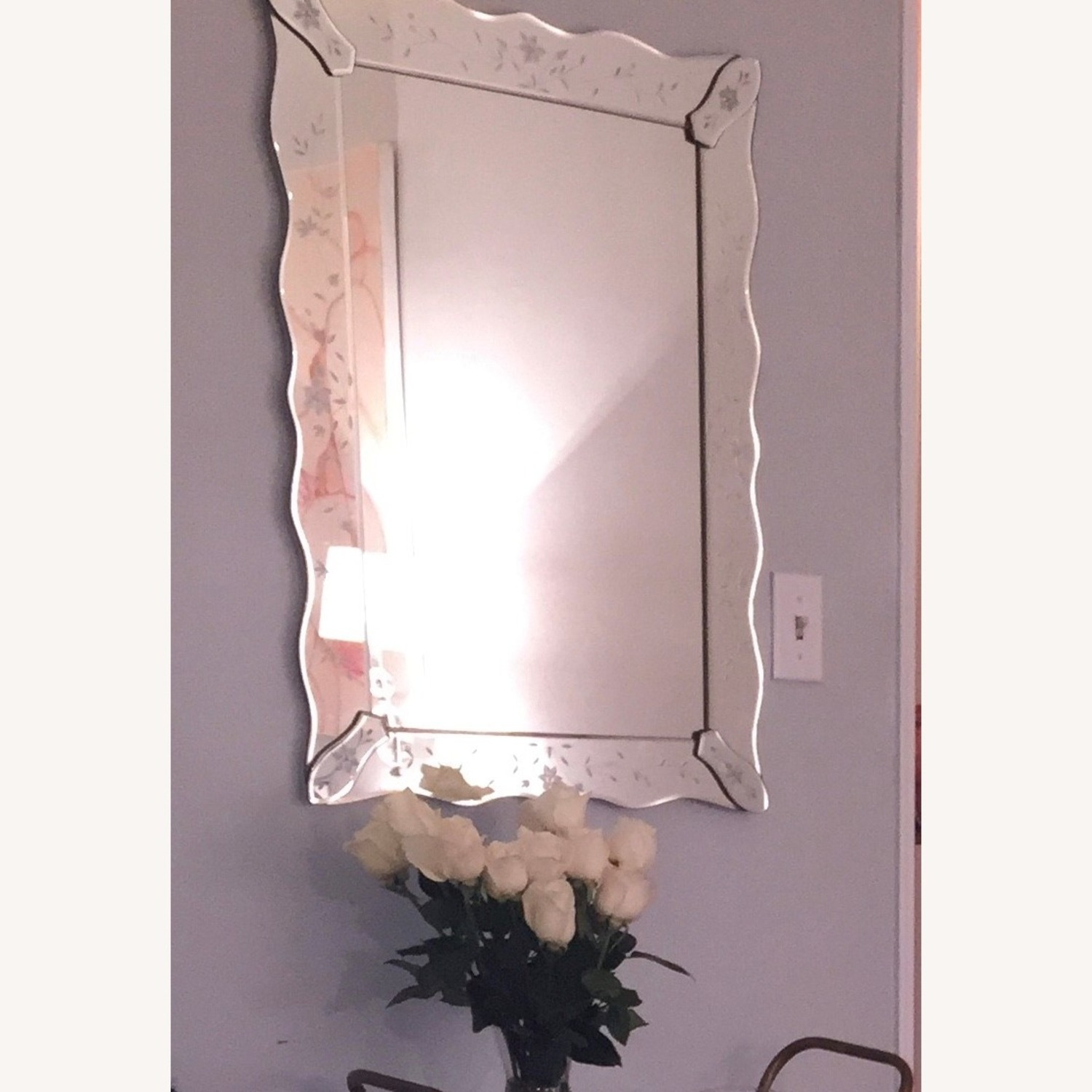 Vintage Mirror With Etched Flowers, Curved Boarder