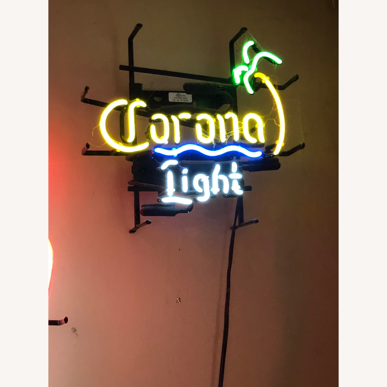 Vintage Corona Light Neon Sign with Palm Tree - image-2