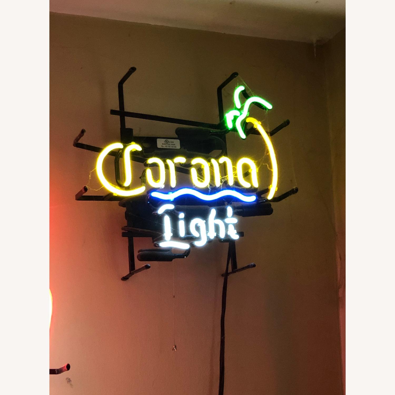 Vintage Corona Light Neon Sign with Palm Tree - image-1