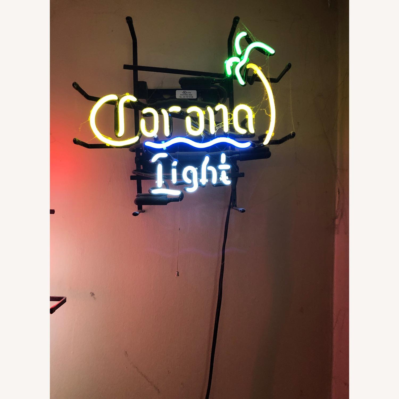 Vintage Corona Light Neon Sign with Palm Tree - image-3
