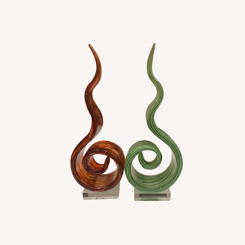 Glass Modern Decor Amber Green Swirl