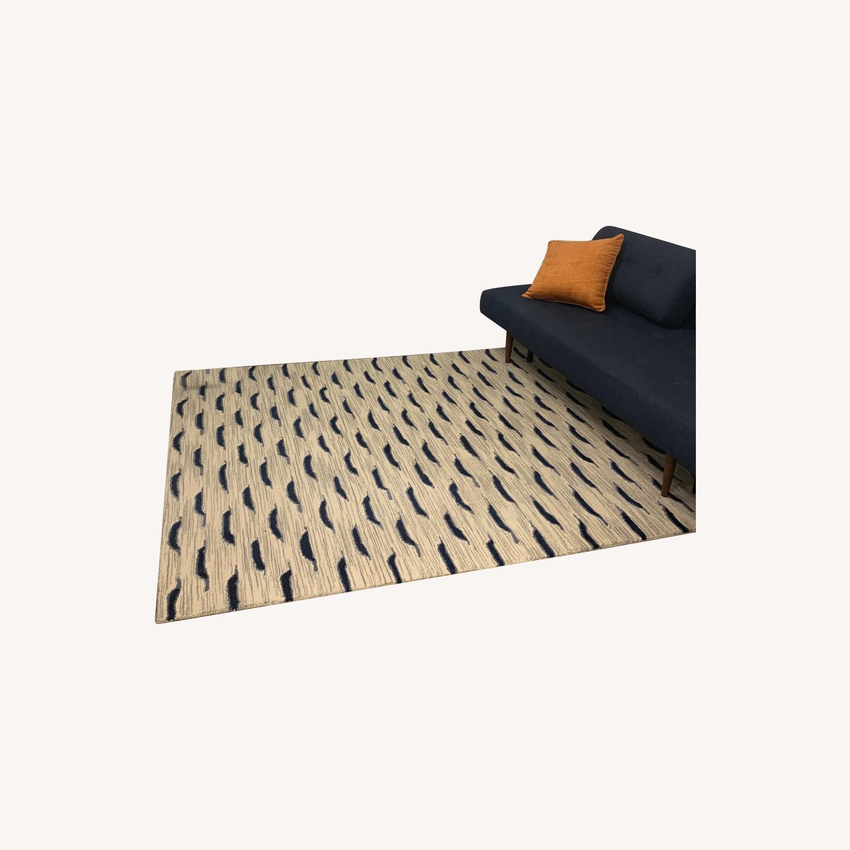 West Elm Ivory Navy Pattern Wool Rug - image-0