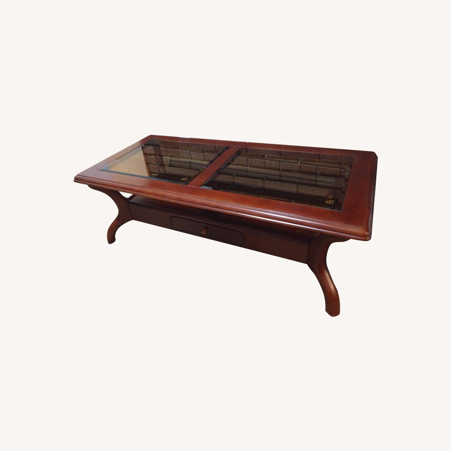 Solid Wood Coffee Table with Glass Top - image-0