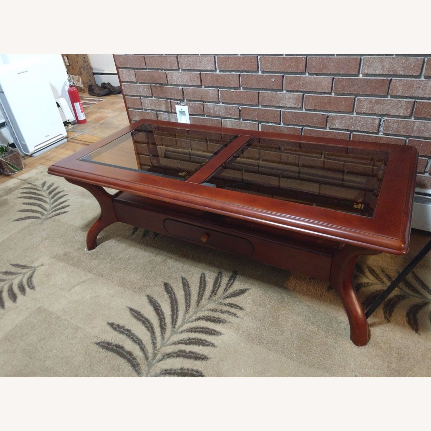 Solid Wood Coffee Table with Glass Top - image-1