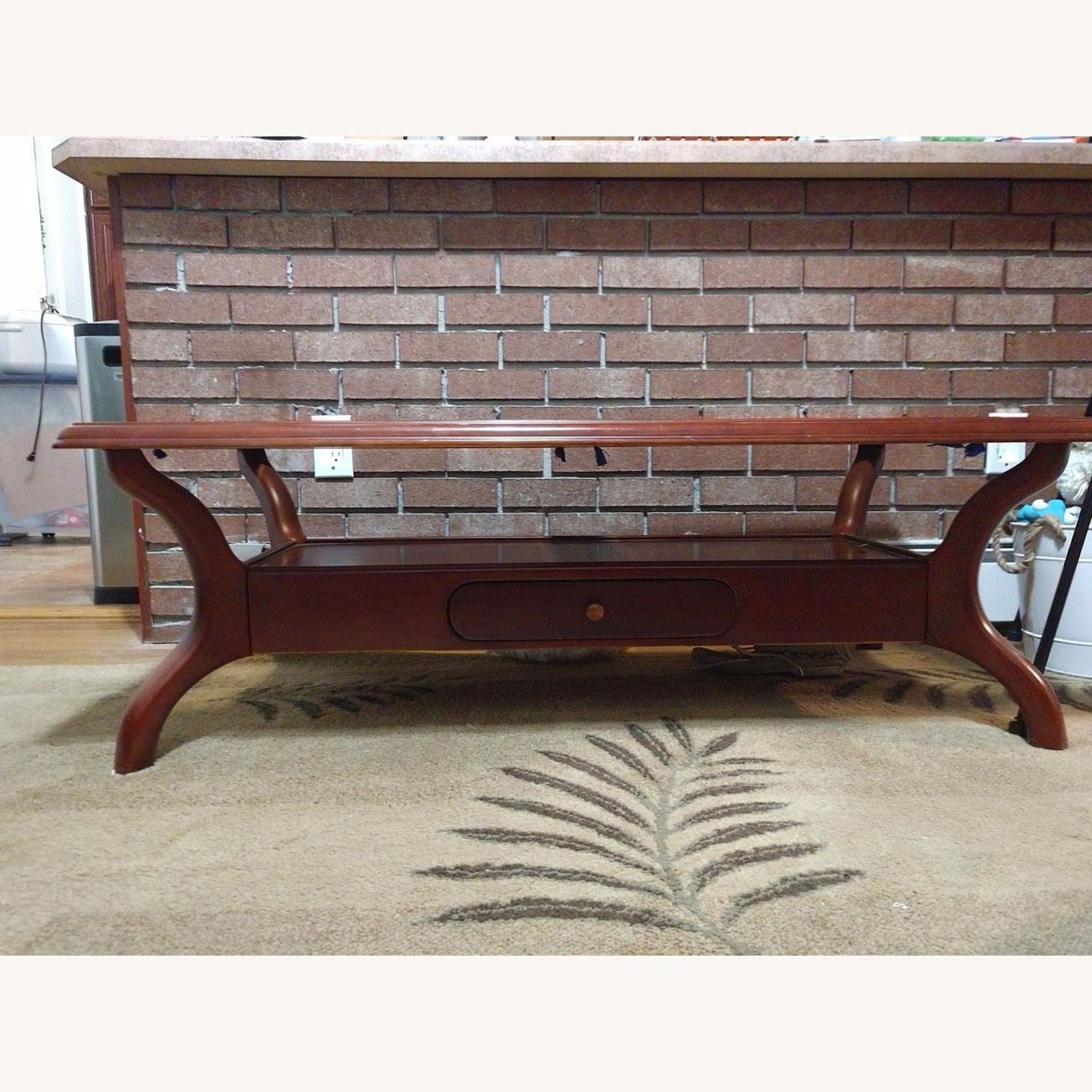 Solid Wood Coffee Table with Glass Top - image-2