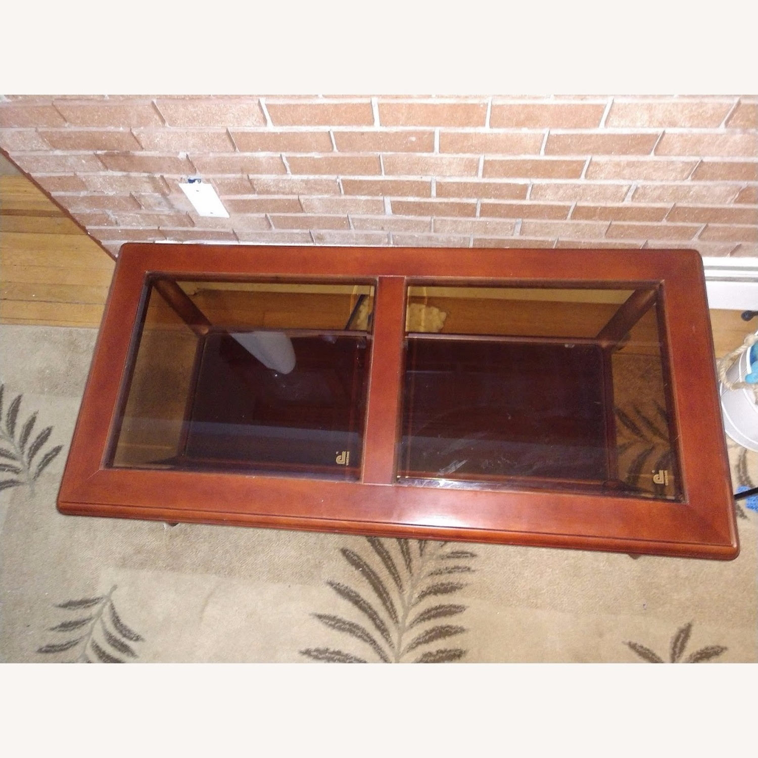 Solid Wood Coffee Table with Glass Top - image-4