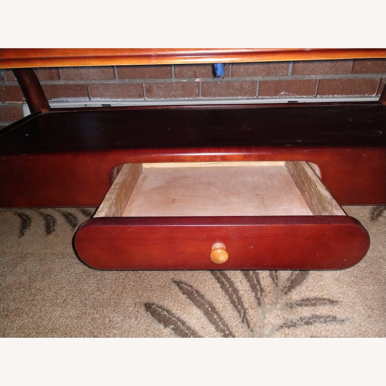Solid Wood Coffee Table with Glass Top - image-3