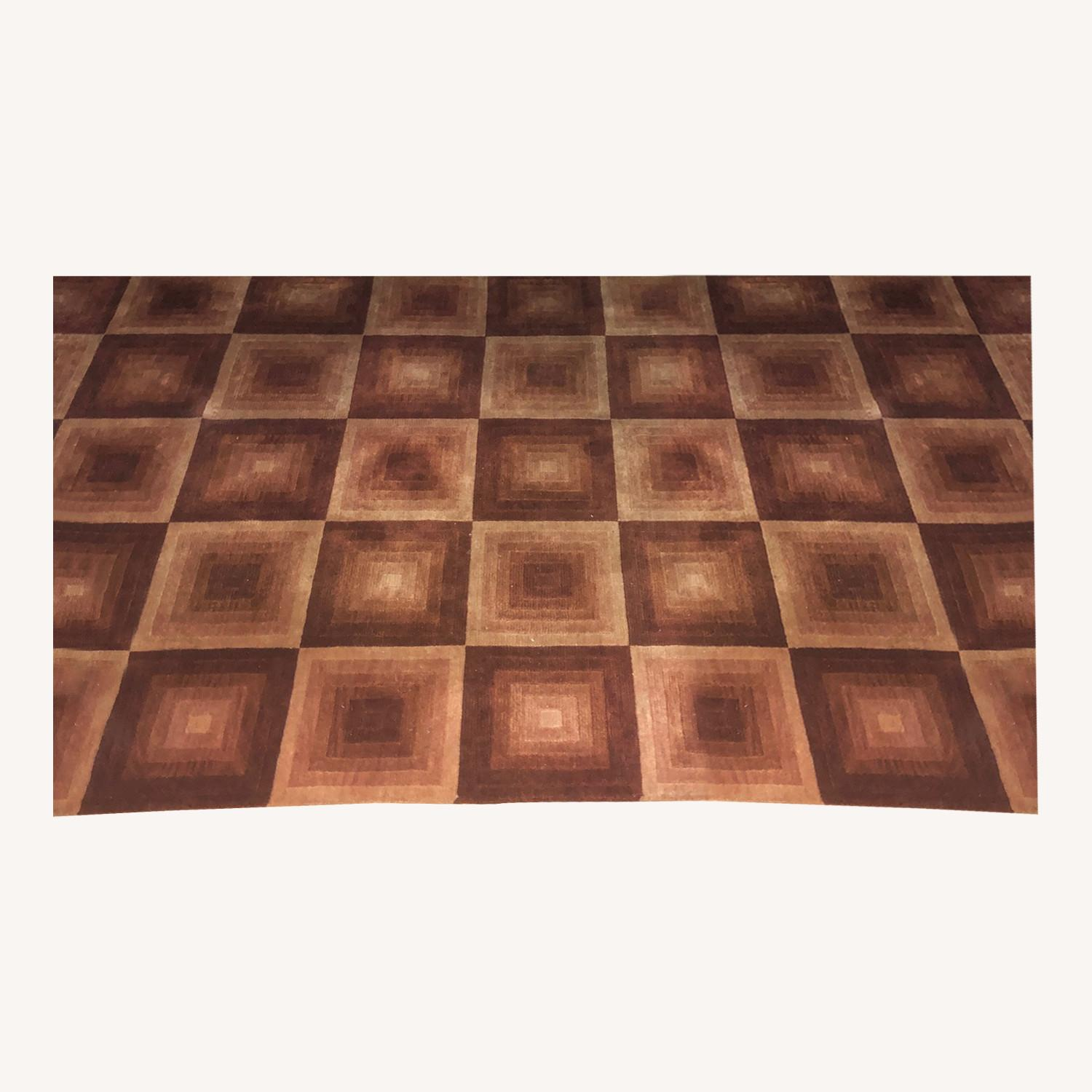 Red Square ABC Carpet Hand-woven Wool Area Rug - image-0