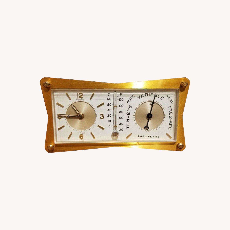 Vintage Swiss Jaeger LeCoultre Alarm/Barometer Desk Clock - image-0