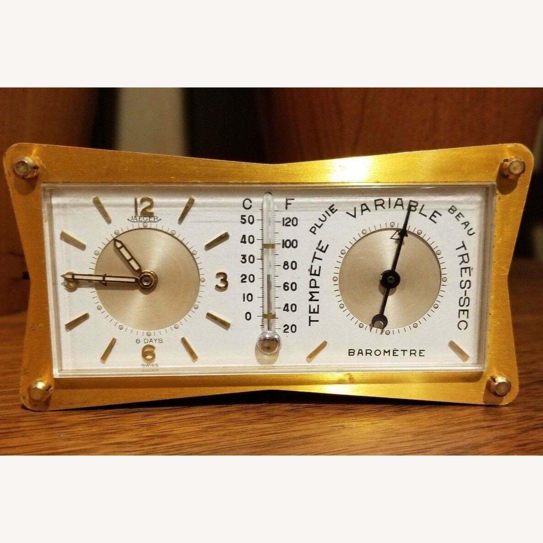 Vintage Swiss Jaeger LeCoultre Alarm/Barometer Desk Clock - image-1
