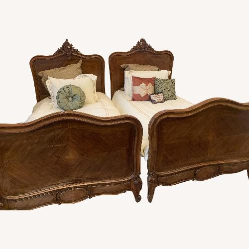 Used Antique Country French Twin Bed Headboard Footboard Sideboar for sale on AptDeco