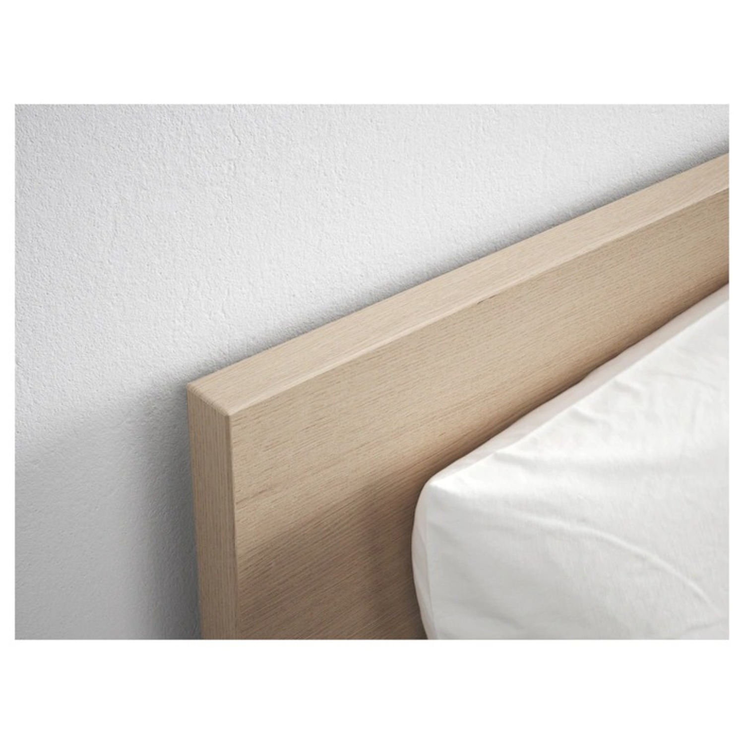 Ikea Malm Queen sized Bed with White Stained Oak Veneer
