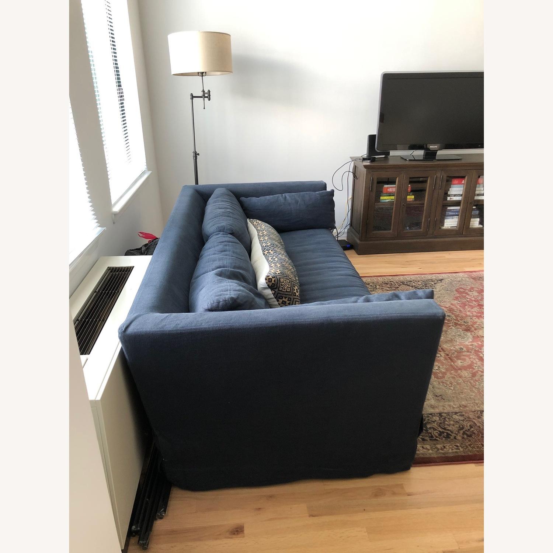 Restoration Hardware Navy Linen Sleeper Sofa - image-2