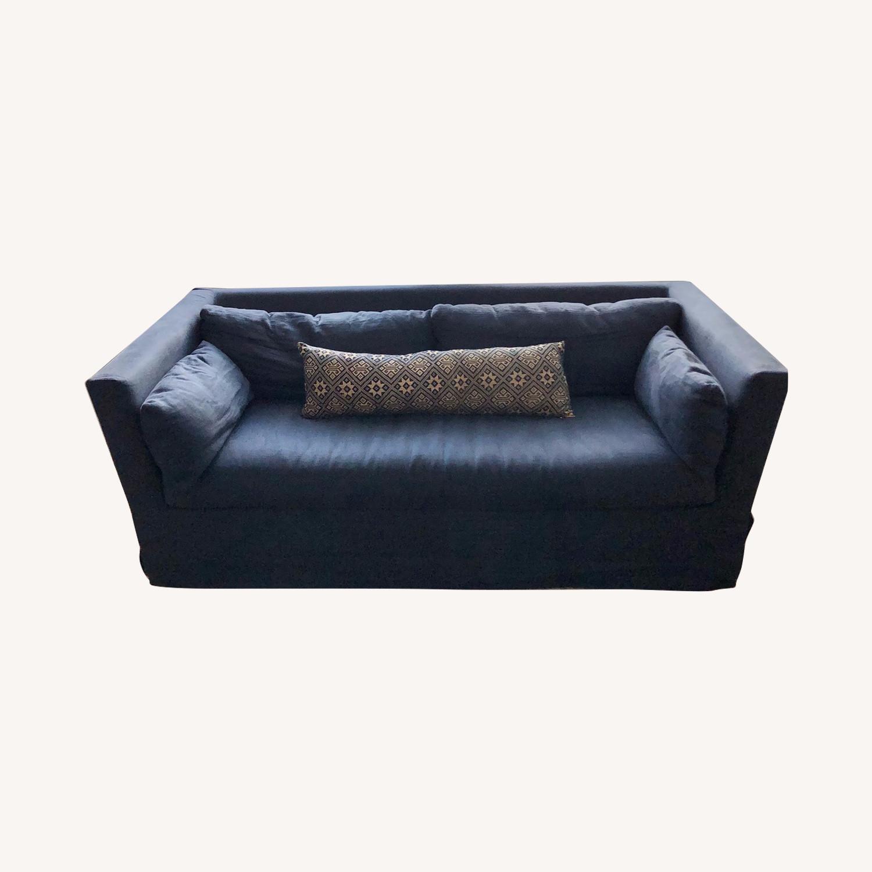 Restoration Hardware Navy Linen Sleeper Sofa - image-0
