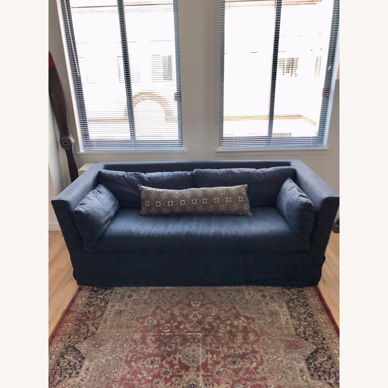 Restoration Hardware Navy Linen Sleeper Sofa - image-1