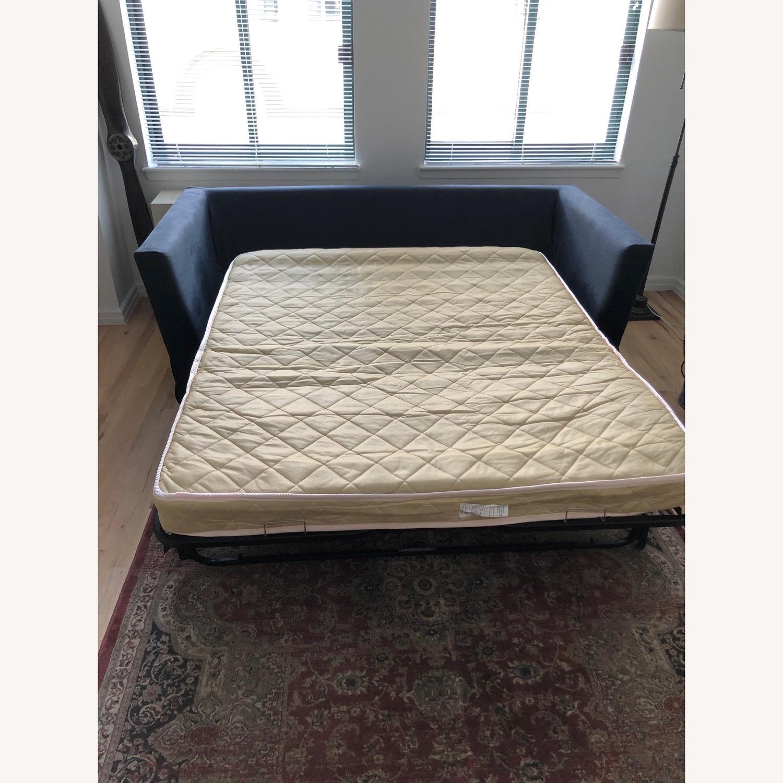 Restoration Hardware Navy Linen Sleeper Sofa - image-4