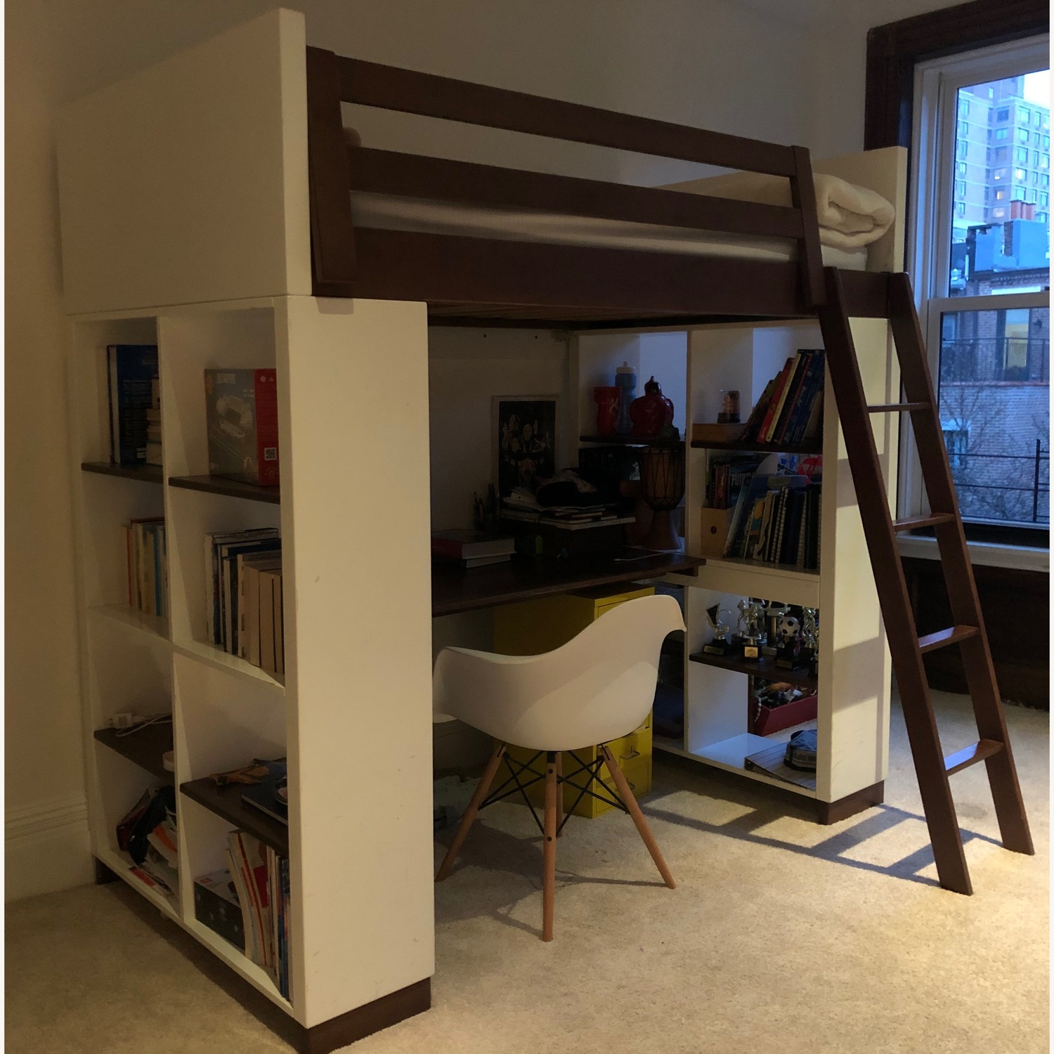 Room & Board Loft Bed with desk and two end bookcases