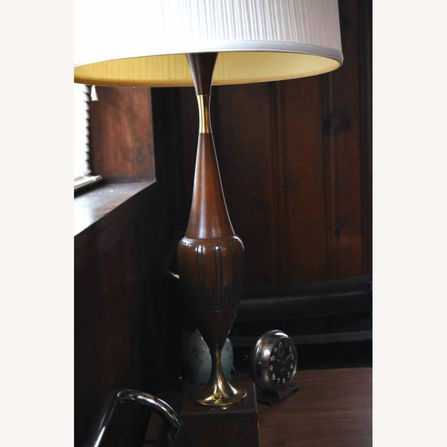 Vintage MCM Wood and Brass Grecian Urn Lamp