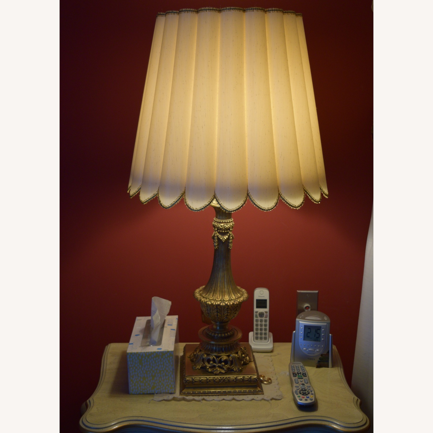 Set of 2 Table Lamps, Brass Base