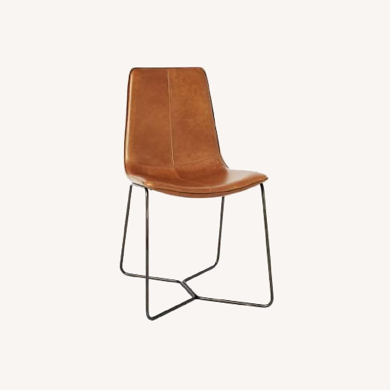 West Elm Slope Leather Dining Chair, set of 2