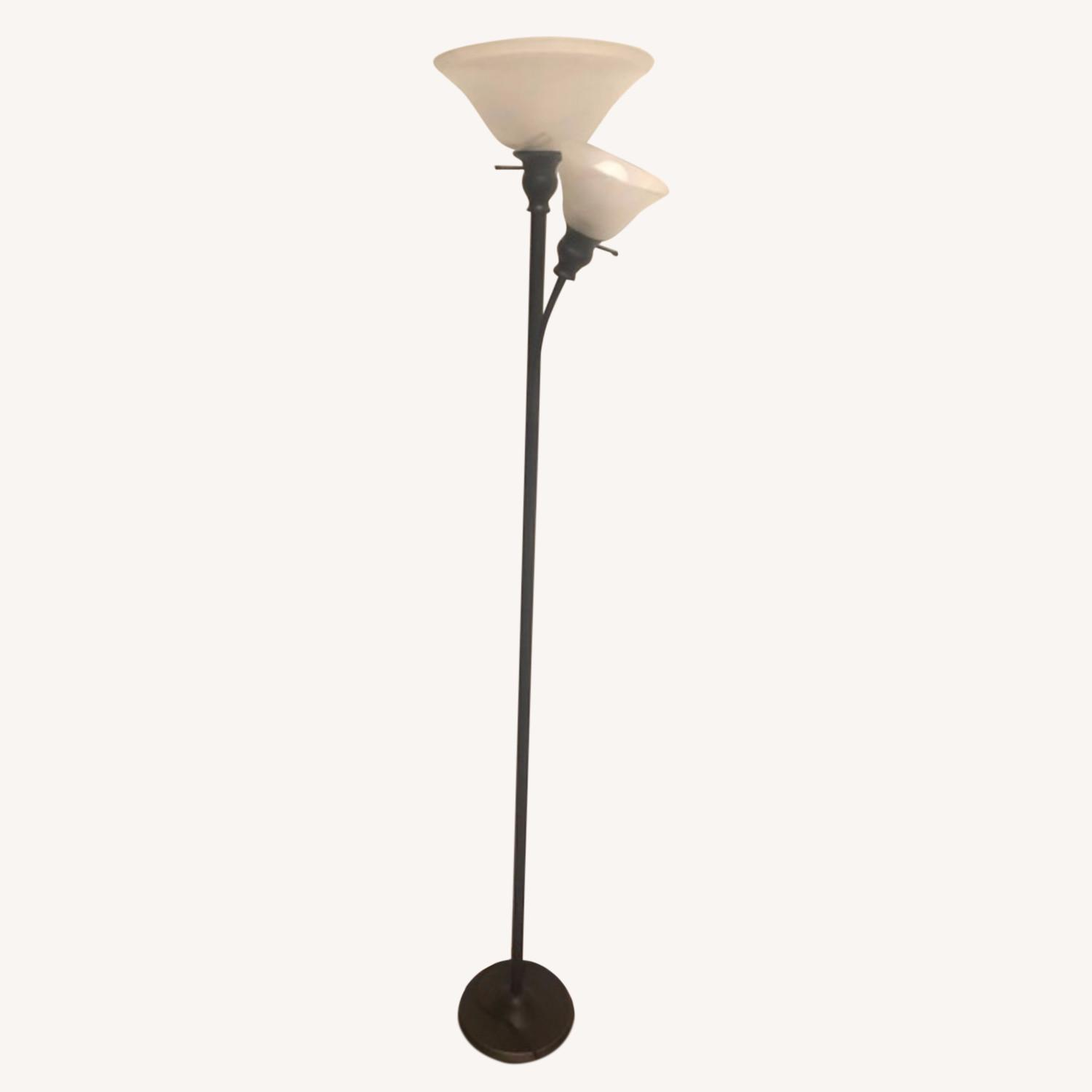 Floor Lamp w/ Marbled Glass - image-0