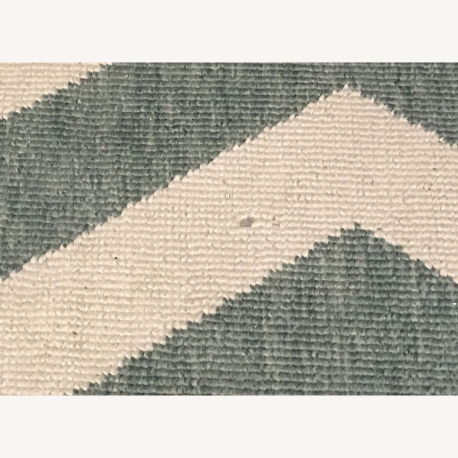 Turquoise and white chevron rug