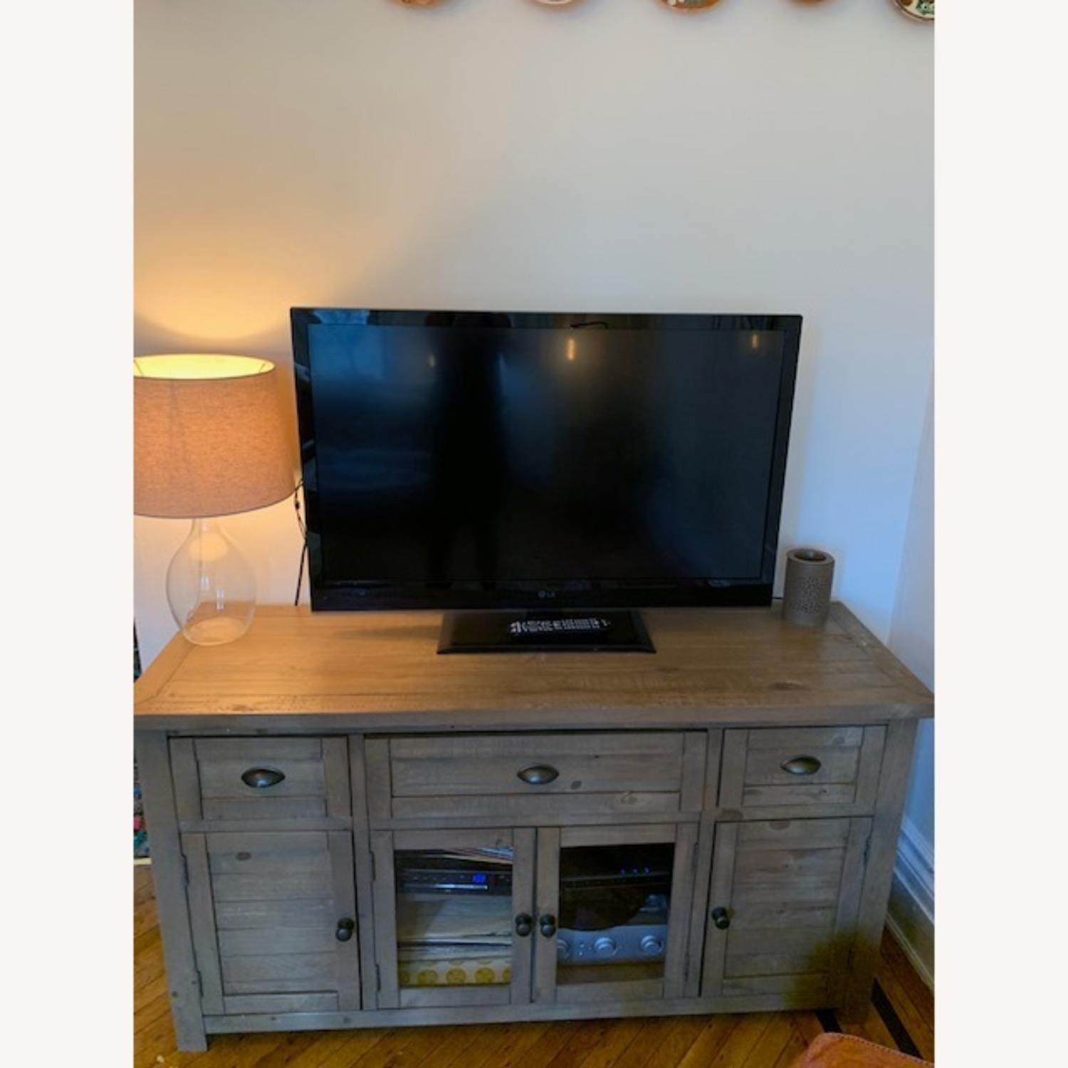 Brown/Grey Solid Wood Media Stand