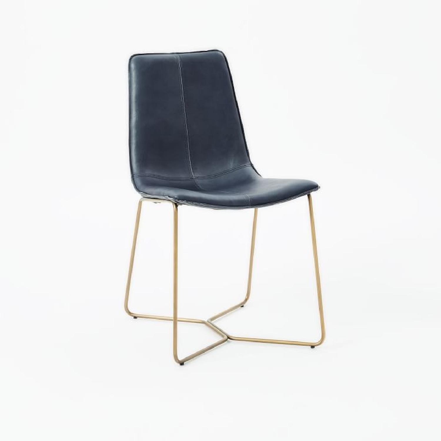 West Elm Slope Leather Dining Chairs