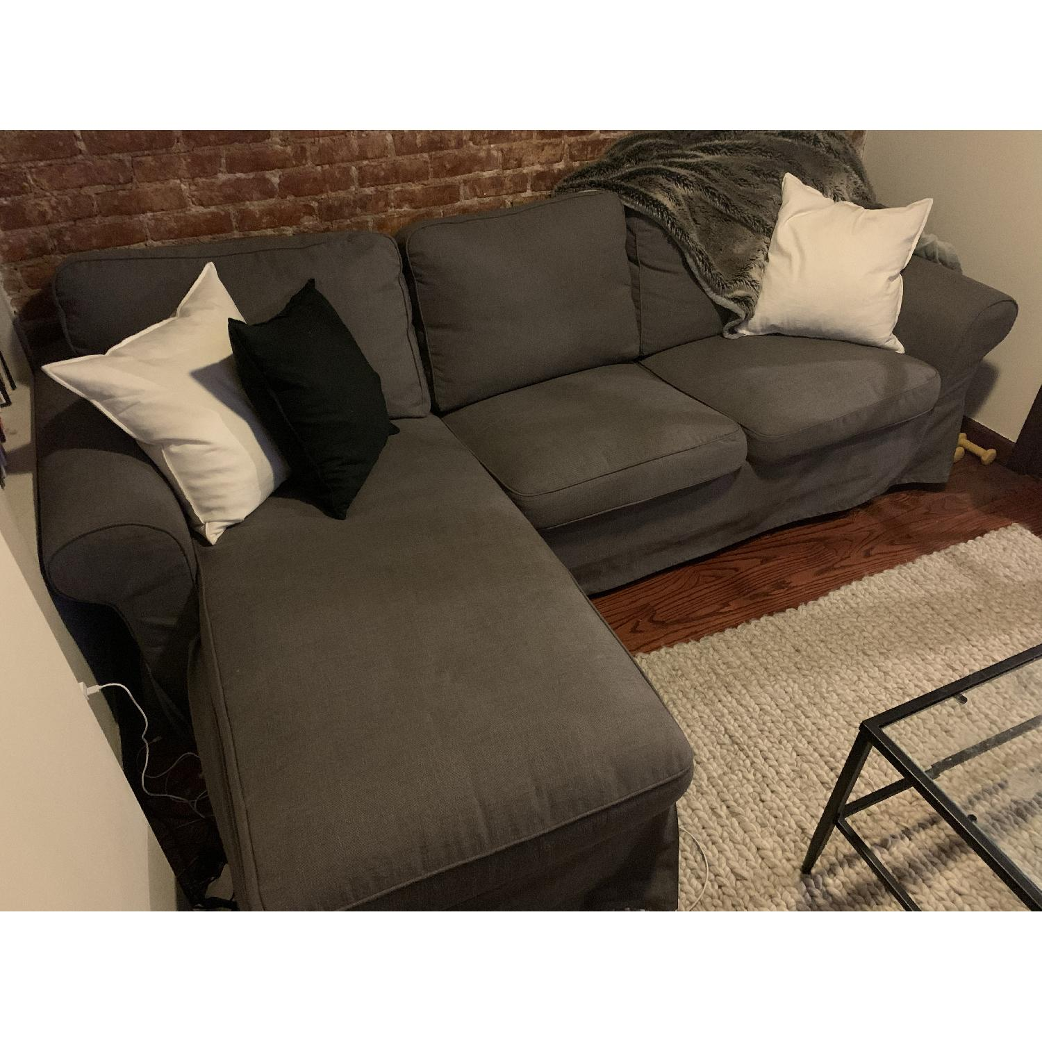 IKEA Dark Grey Couch with Chaise