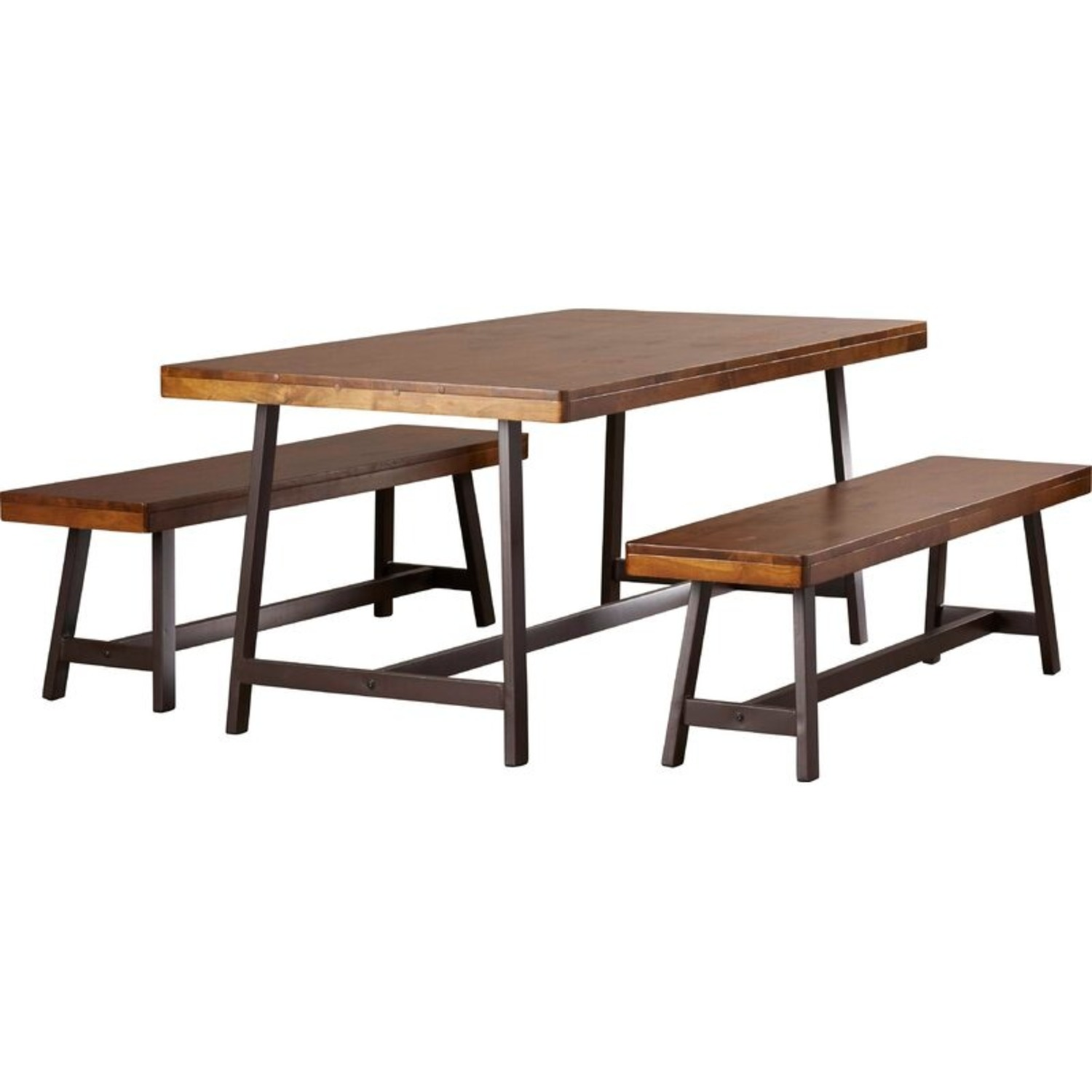 Wood and Steel-framed Table and Benches