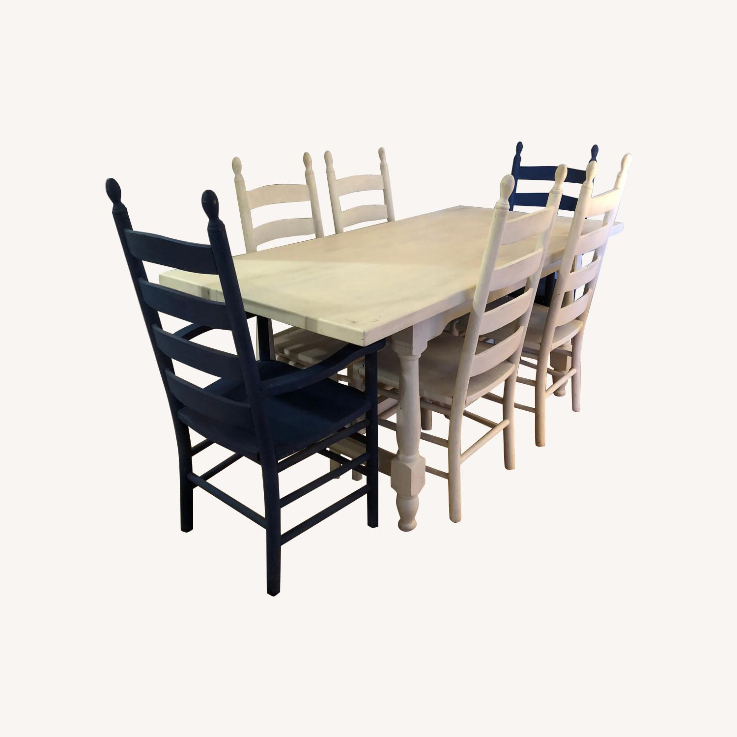 Solid Oak Trestle Dining Table with 6 Ladderback Chairs