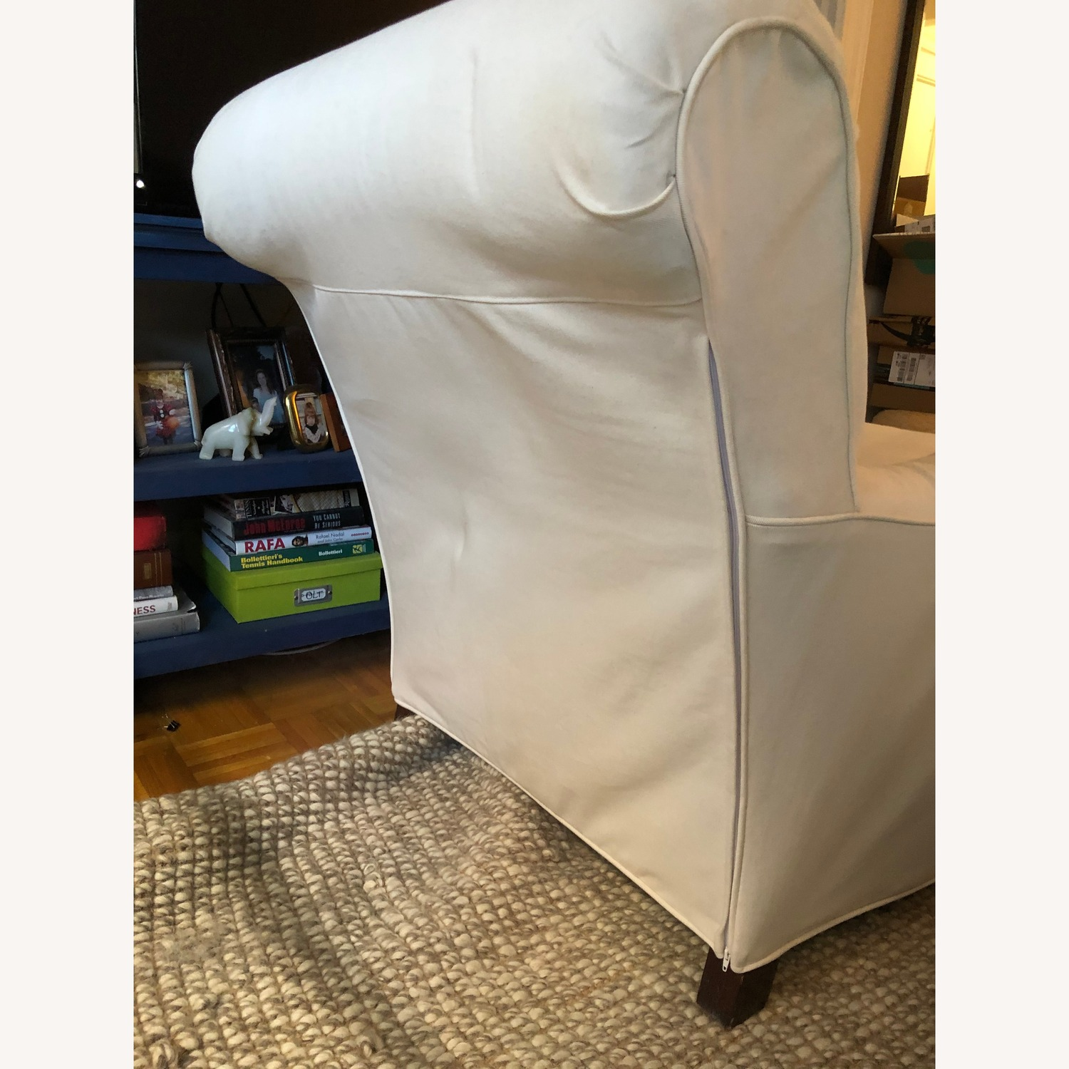Ethan Allen English Arm Off-White Slipcovered Chair