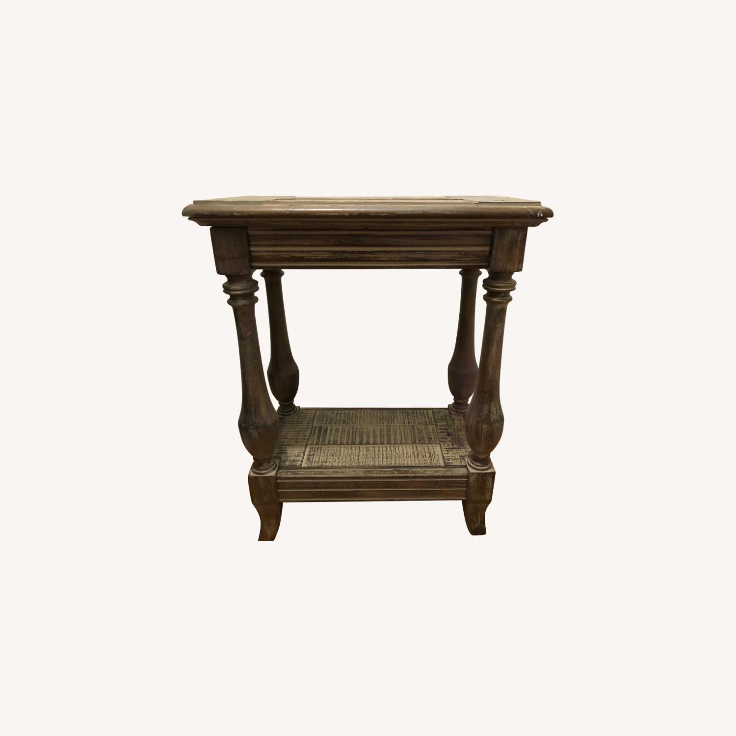 Solid Wood Distressed Finish Side-Table