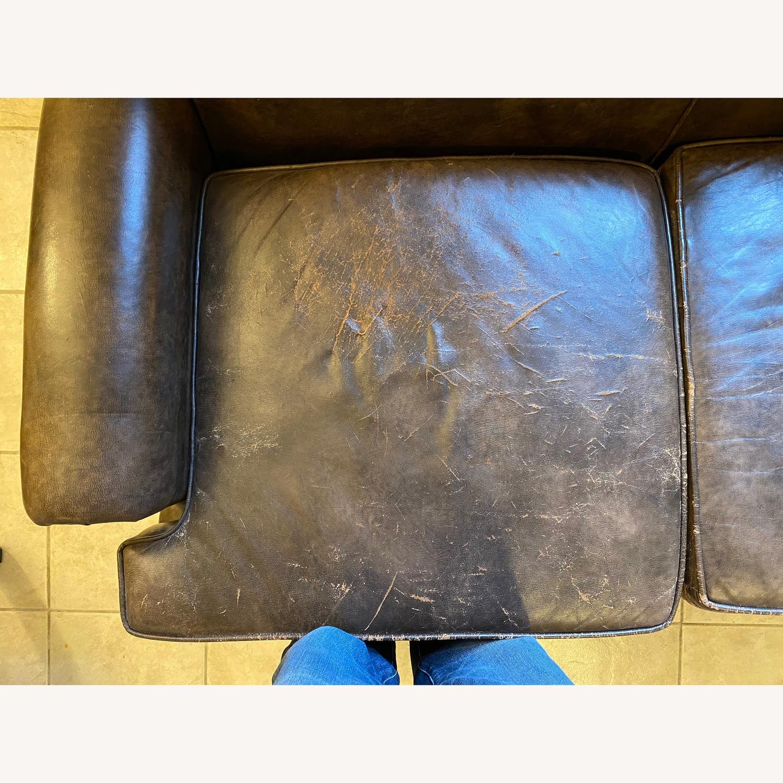 Vintage Brown Leather Loveseat