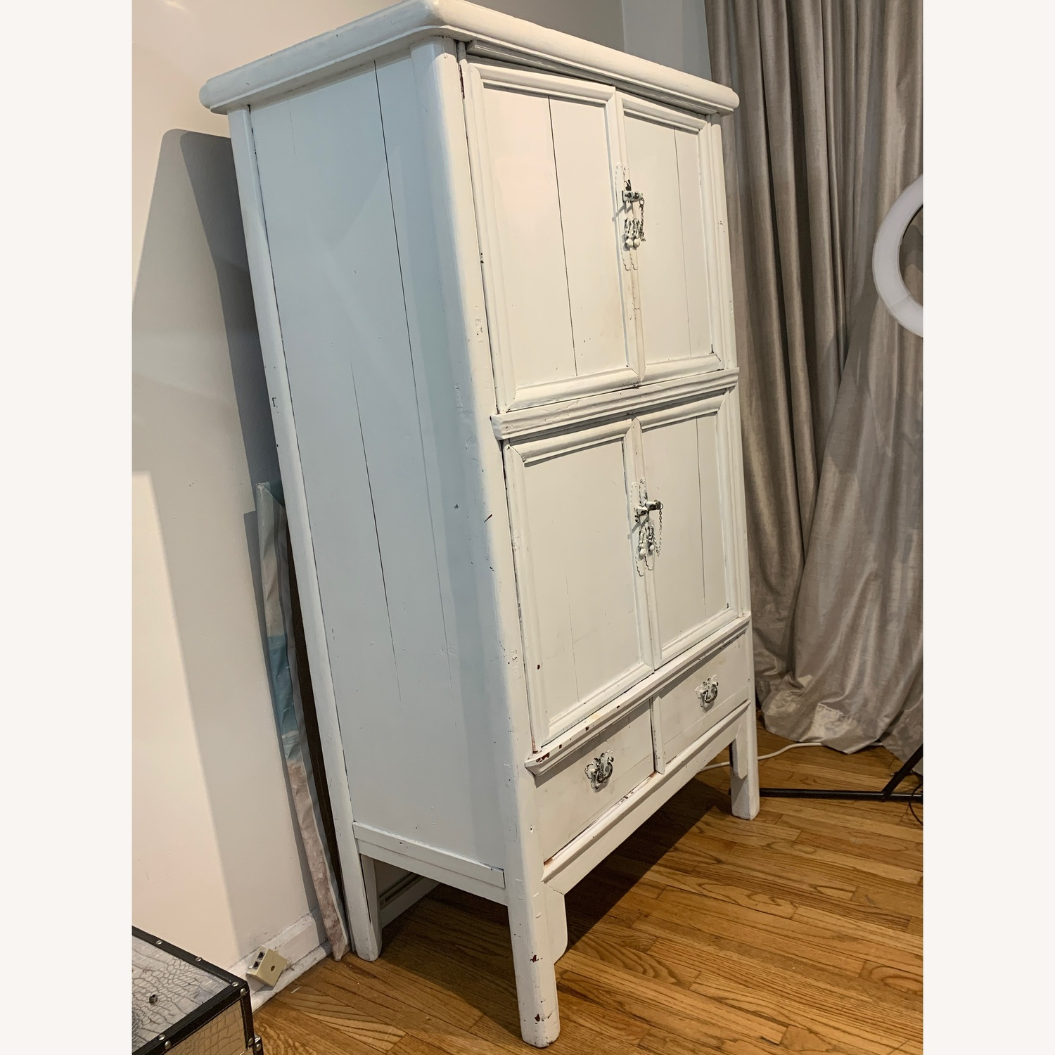 Laytner's Linen & Home White Distressed Armoire