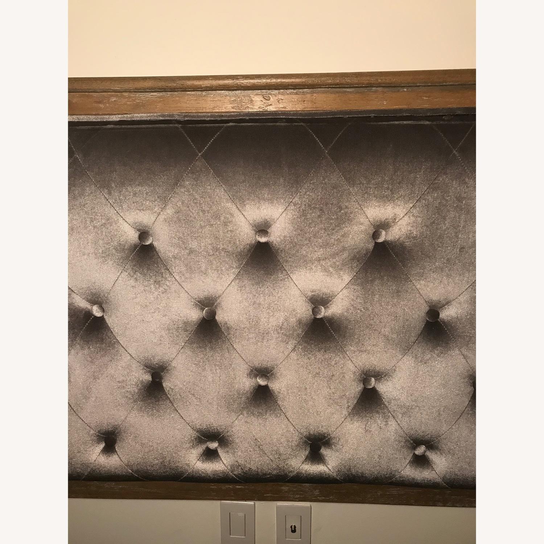 Wayfair Weathered Wood & Grey Velvet Headboard
