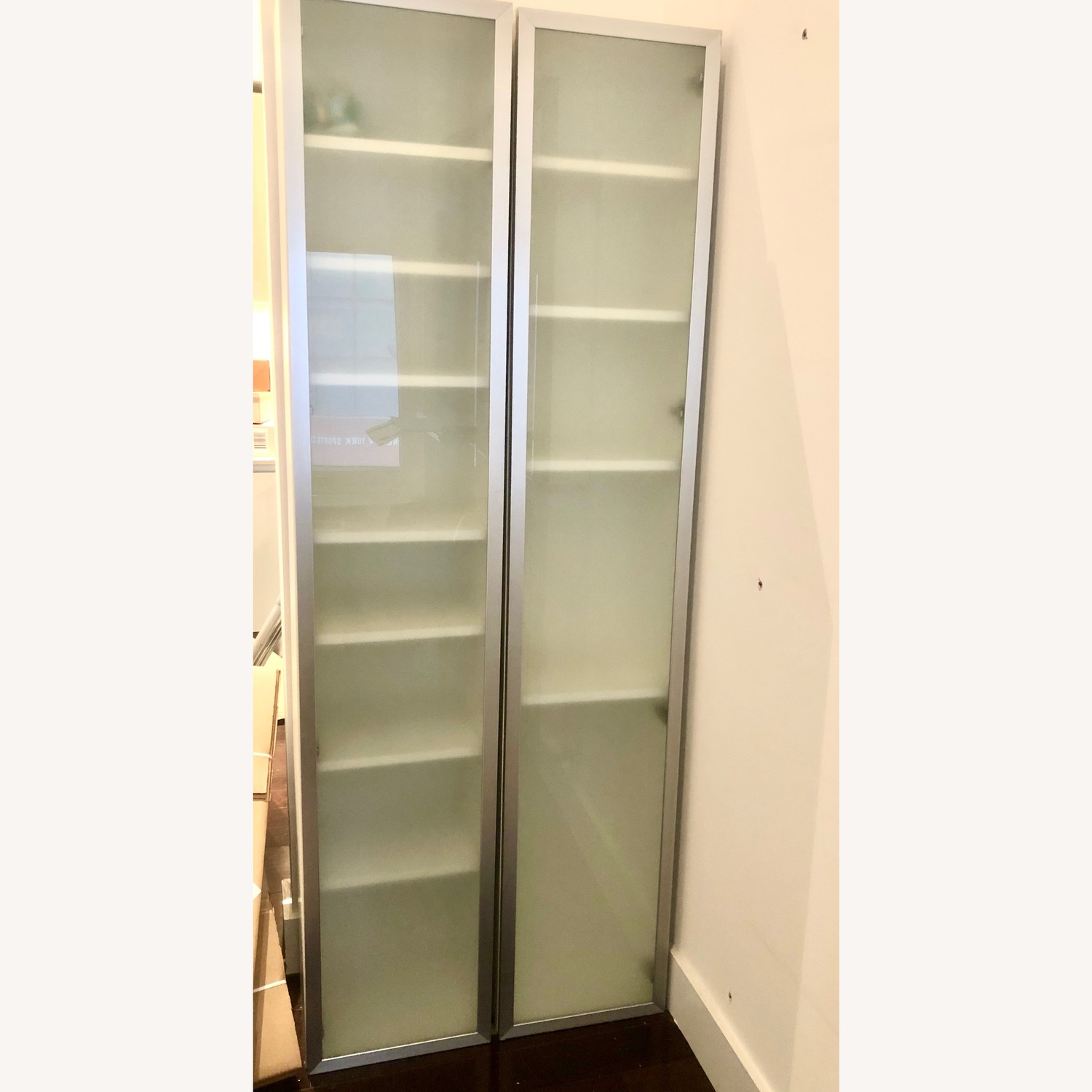 IKEA White with Chrome Outlines Glass Door