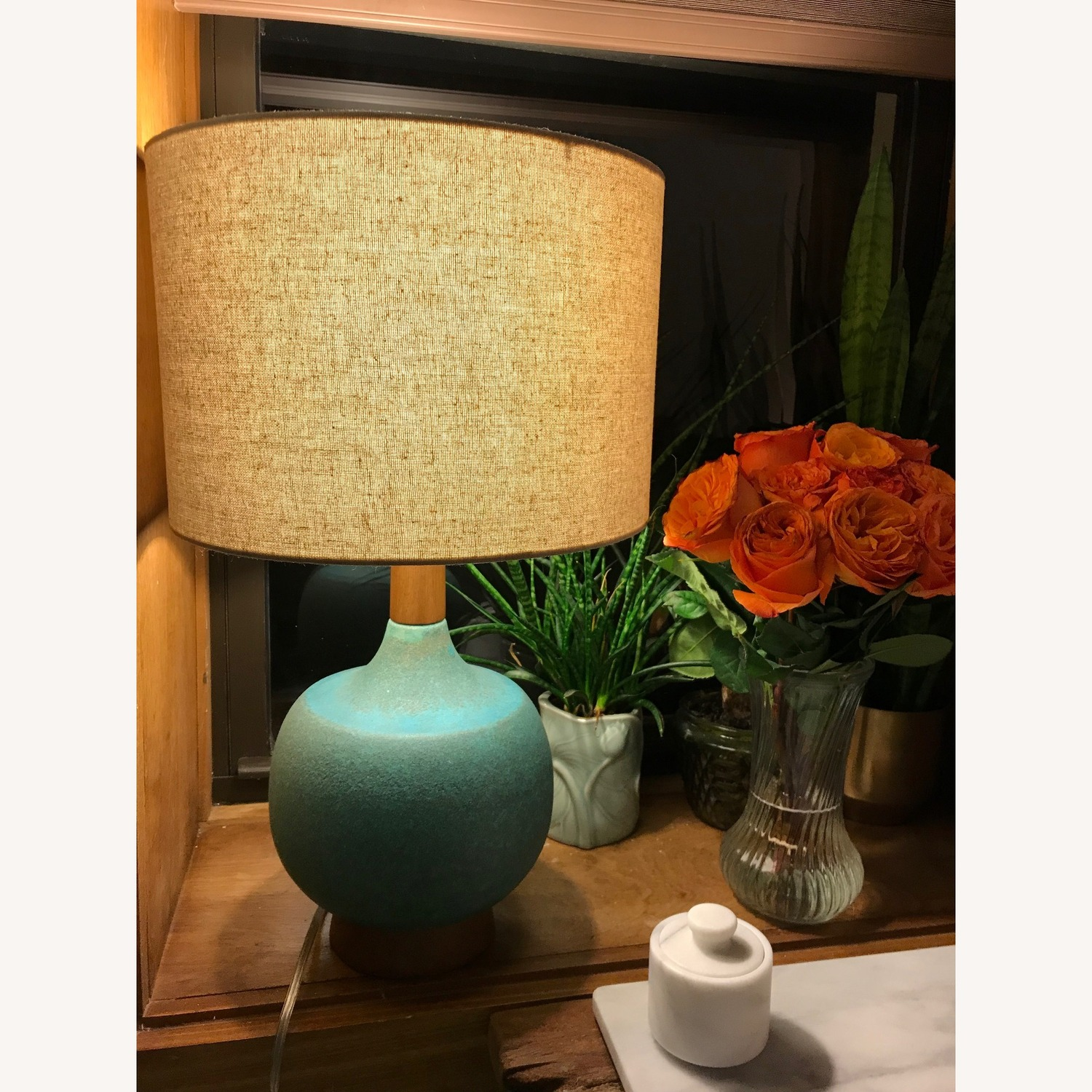 West Elm Turquoise Table Lamp