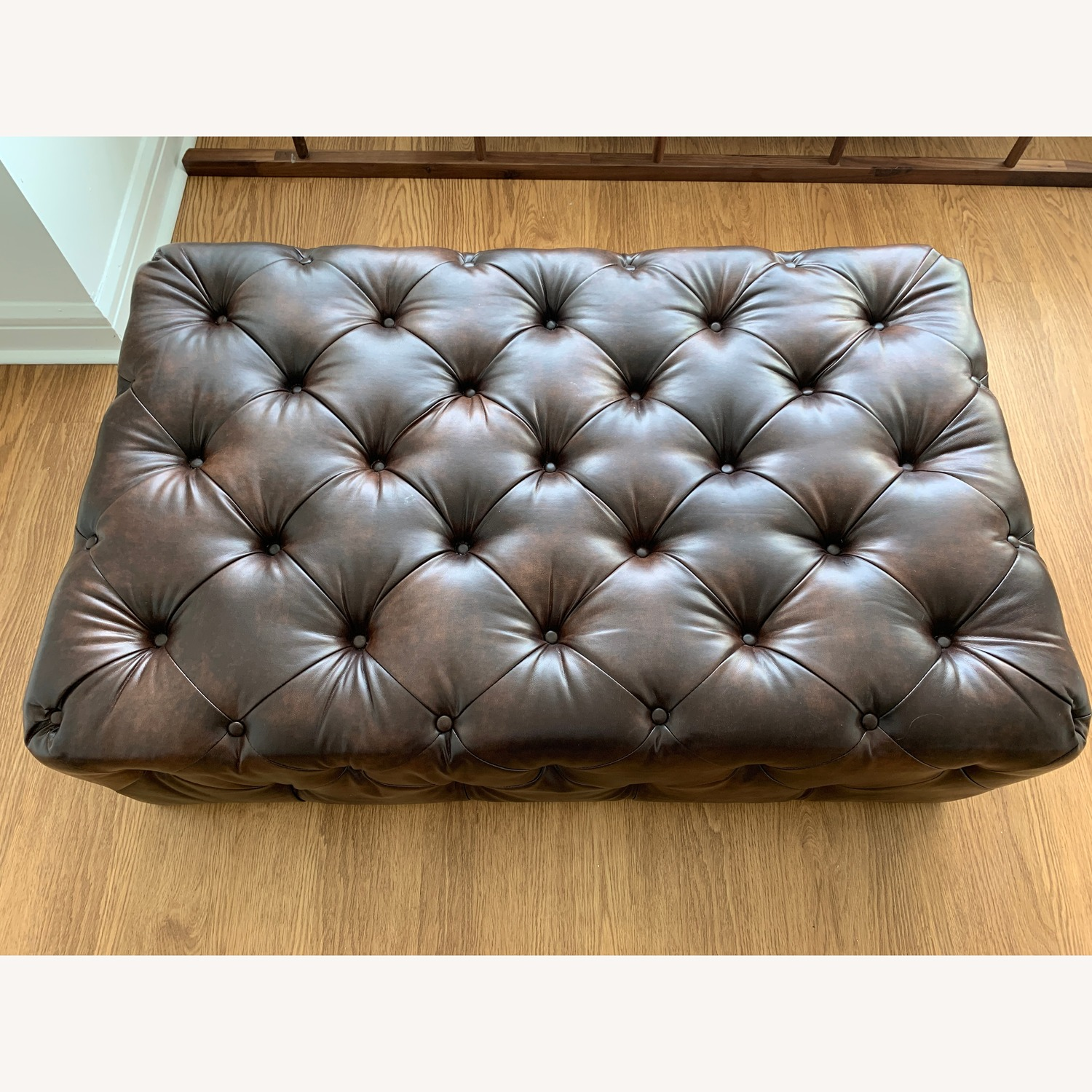 Genuine Leather Large Tufted Cocktail Table Ottoman Bench
