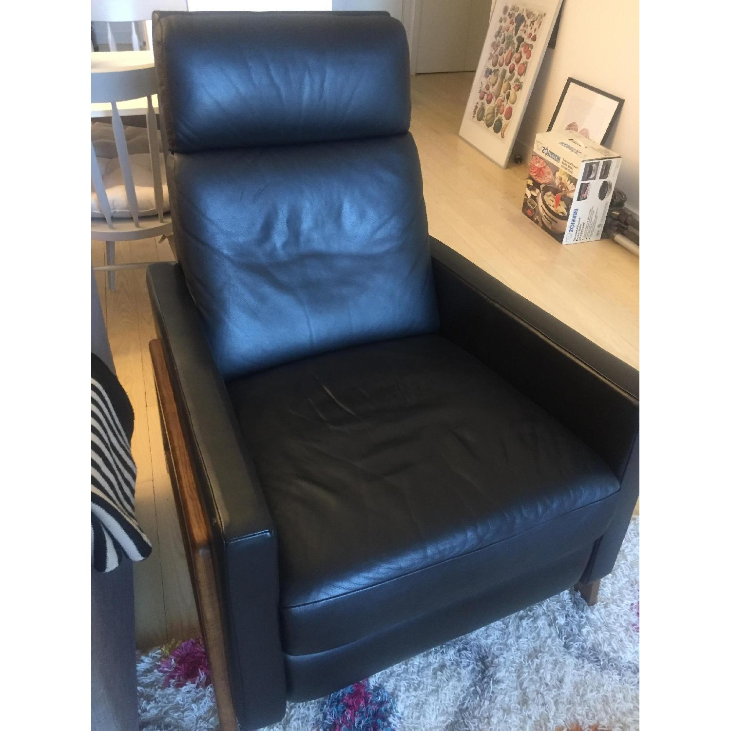 West Elm Black Leather Recliner - image-3
