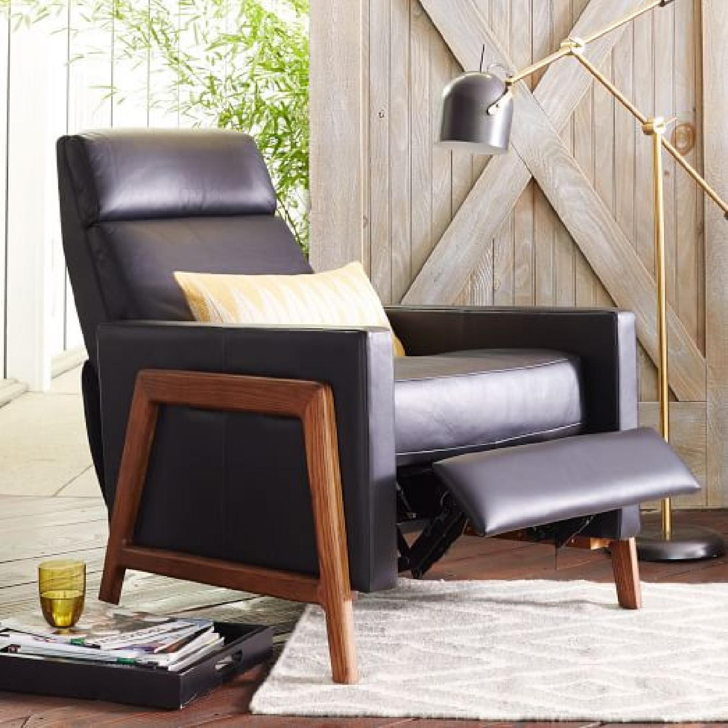 West Elm Black Leather Recliner - image-0