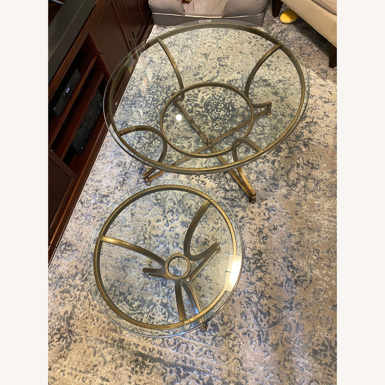 Thomasville Round Glass Coffee Table and Matching Side Table