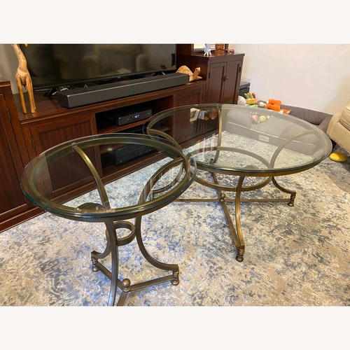 Used Thomasville Round Glass Coffee Table and Matching Side Table for sale on AptDeco