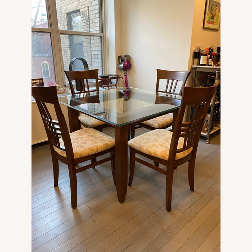 Used Thomasville Mahogany and Glass Dining Table and 4 Chairs for sale on AptDeco